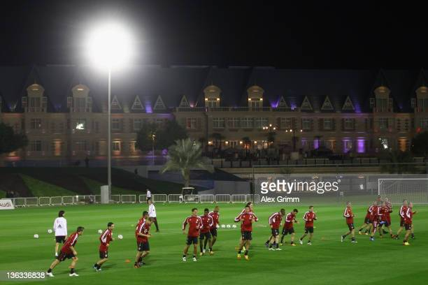 Players exercise during a training session of Bayern Muenchen at the ASPIRE Academy for Sports Excellence on January 2 2012 in Doha Qatar