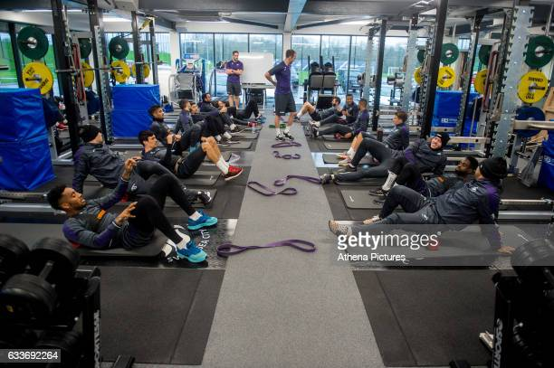Players exercise in the gym during the Swansea City training session at The Fairwood training Ground on February 03 2017 in Swansea Wales