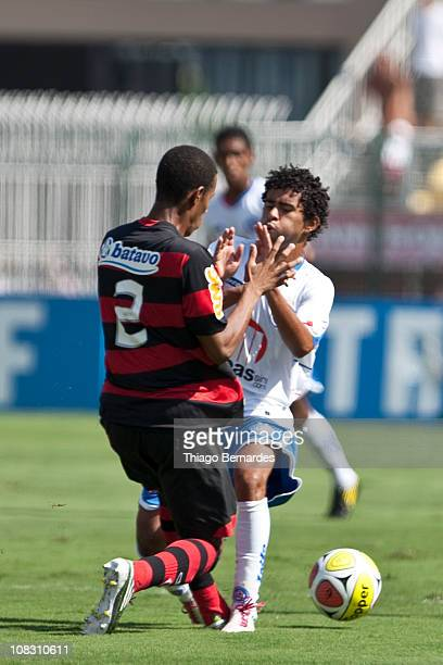 Players Fabio and Alex of Bahia fight for the ball during the soccer match Flamengo v Bahia as part of the Sao Paulo Juniors Cup 2011 at Pacaembu...