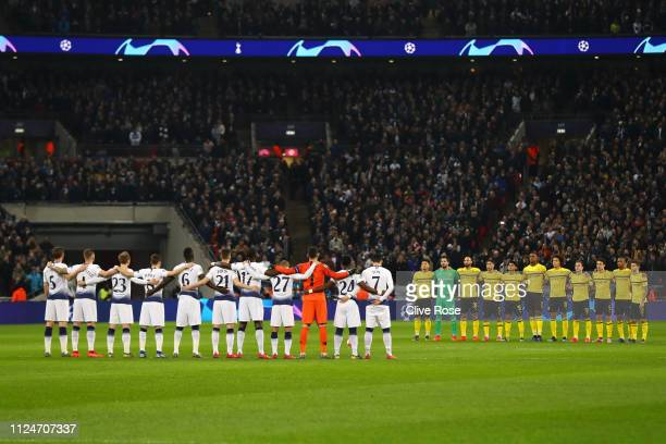 Players fans and officals pay tribute to Emiliano Sala and Gordan Banks prior to the UEFA Champions League Round of 16 First Leg match between...