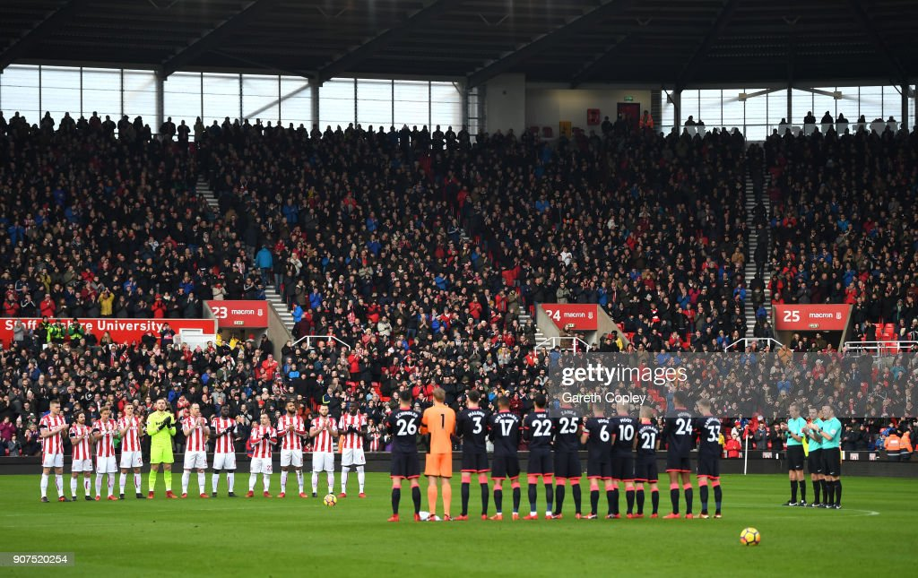 Players, fans and officials remember ex-footballer Cyrille Regis who passed away earlier this week prior to the Premier League match between Brighton and Hove Albion and Chelsea at Amex Stadium on January 20, 2018 in Brighton, England.