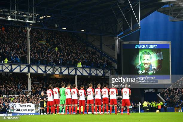 Players fans and officials remember exfootballer Cyrille Regis who passed away earlier this week prior to the Premier League match between Brighton...