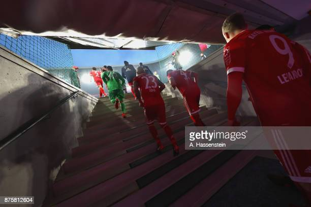 Players FC Bayern Muenchen walk up the stairs at the players tunnel to enter the field of play for the Bundesliga match between FC Bayern Muenchen...