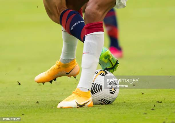 Players fight for a loose ball during the Gold Cup semifinal match between the United States and Qatar on Thursday July 29th, 2021 at Q2 stadium in...