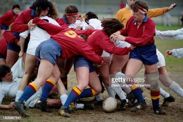 Players fight for possession of the ball in a ruck during play in the pool 4 match between Italy and Spain on the third day of competition in the...