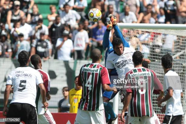 Players fight for the ball at the box of Fluminense during the final match of the Copa de Juniores 2012 at the Pacaembu stadium on January 25 2012 in...