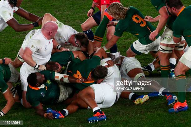 Players fight for the ball during the Japan 2019 Rugby World Cup final match between England and South Africa at the International Stadium Yokohama...