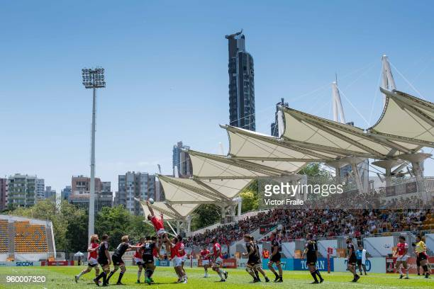 Players fight for the ball during the Super Rugby match between Sunwolves and Stormers at Mong Kok Stadium on May 19 2018 in Hong Kong