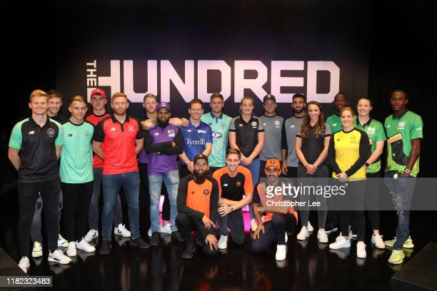 Players for the eight teams in The Hundred line up following The Hundred Draft, broadcast live from Sky Studios on October 20, 2019 in Isleworth,...