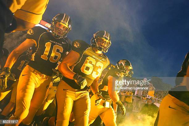 Players for the Missouri Tigers head out to the field against the Oklahoma State Cowboys on October 11 2008 at Memorial Stadium in Columbia Missouri