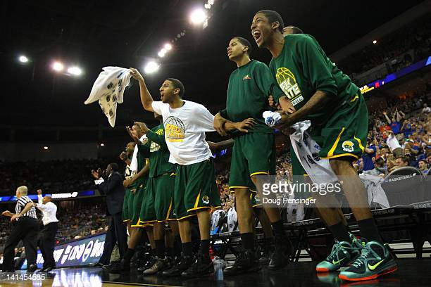 Players for the Norfolk State Spartans support their teammates from the bench against the Missouri Tigers during the second round of the 2012 NCAA...