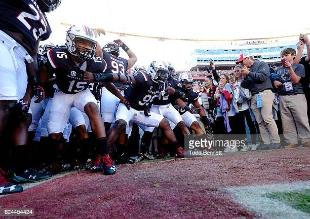 Players for the South Carolina Gamecocks prepare to take the field for their game against the Western Carolina Catamounts on November 19 2016 at...