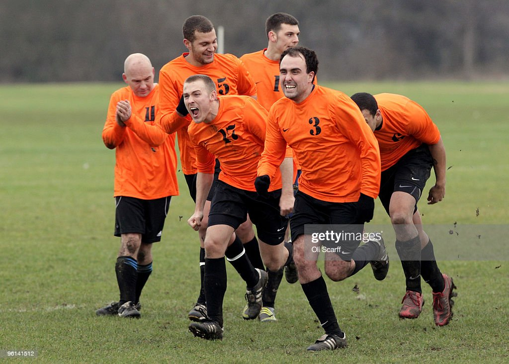 Hackney Marshes Hosts Its Weekly Sunday League Football Matches : News Photo