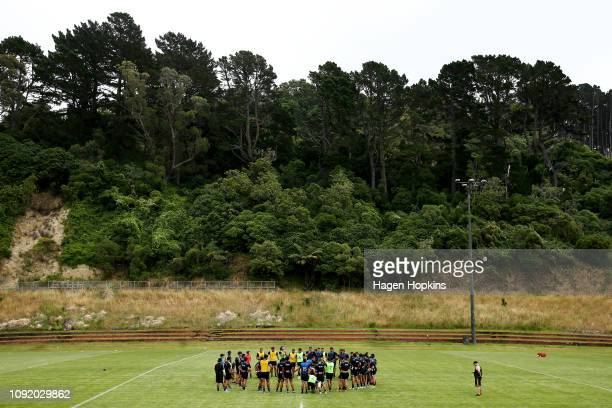 Players form a huddle during the Wellington Hurricanes training session on January 10 2019 in Wellington New Zealand