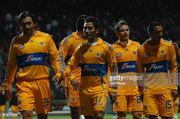 Players Francisco Fonseca, David Toledo, Lucas Ayala ad Edgar Castillo of Tigres during their match as part of the Mexican Football League at Nemesio...