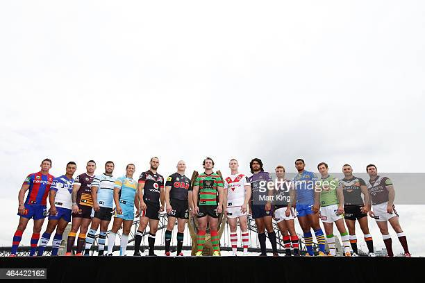 Players from 15 NRL clubs pose during the 2015 NRL advertising campaign launch at Sydney Opera House on February 26 2015 in Sydney Australia