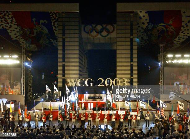 Players from 55 countries attend opening ceremony of 3rd World Cyber Games at Olympic Park in Seoul 12 Ocotober 2003 The WCG tournament will last for...