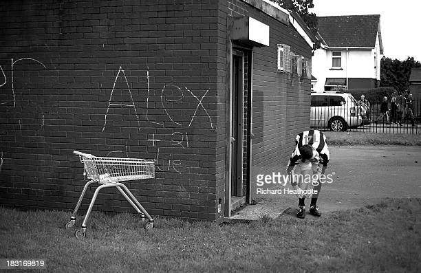 Players from a local team prepare to play near to the stadium prior to the Barclays Premier League match between Cardiff City and Newcastle United at...