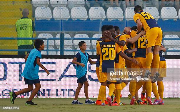 Players from AEL Limassol FC celebrate a goal during the AEL Limassol FC v Tottenham Hotspur UEFA Europa League Qualifying PlayOff match on August 21...