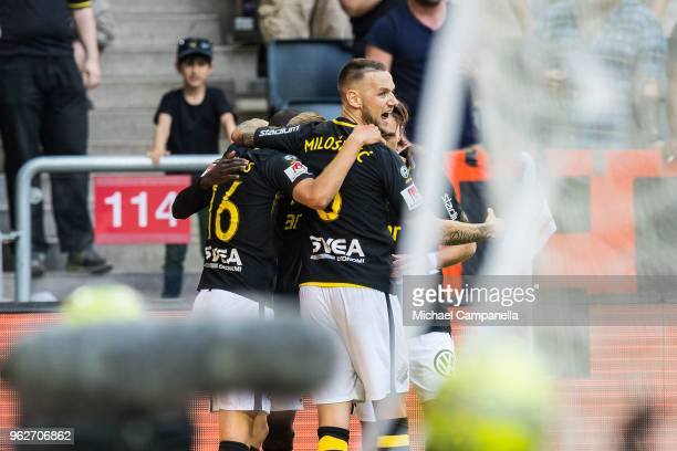 Players from AIK celebrate the 10 opening goal during an Allsvenskan match between AIK and IFK Norrkoping at Friends Arena on May 26 2018 in...