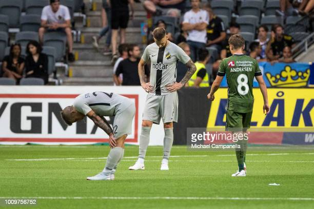Players from AIK dejected after a UEFA Europa League second qualifying round match between AIK and FC Nordsjaelland at Tele2 Arena on August 2 2018...