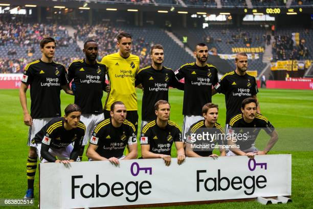 Players from AIK pose for a picture before the start of the Allsvenskan match between AIK and BK Hacken at Friends arena on April 2 2017 in Solna...