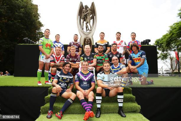 Players from all clubs pose during the 2018 NRL season launch at First Fleet Park on March 1 2018 in Sydney Australia