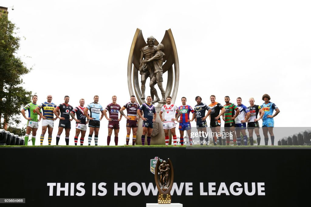 Players from all clubs pose during the 2018 NRL season launch at First Fleet Park on March 1, 2018 in Sydney, Australia.