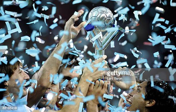 Players from Argentina lift the cup after winning the FIFA World Youth Championships 2005 Final between Argentina and Nigeria on July 2 2005 in...