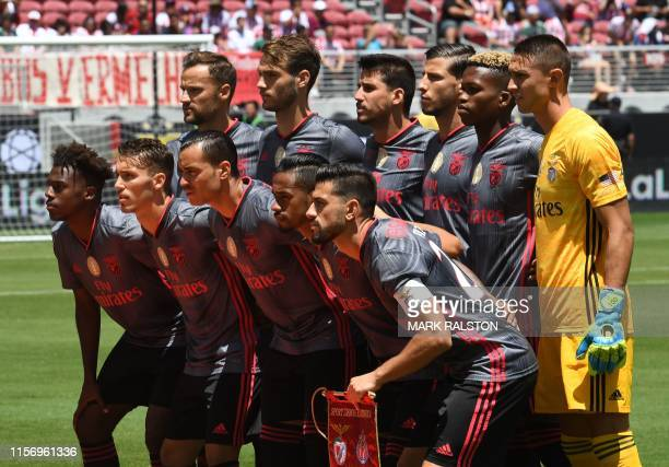 Players from Benfica pose for a team shot before their 2019 International Champions Cup match against Chivas de Guadalajara at the Levi's Stadium in...