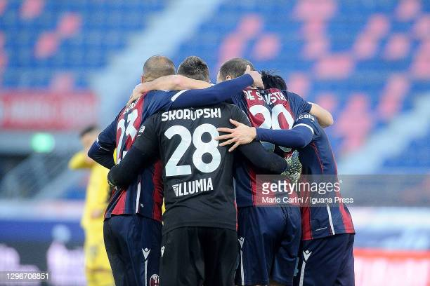 Players from Bologna FC celebrate at the end of the Serie A match between Bologna FC and Hellas Verona FC at Stadio Renato Dall'Ara on January 16,...