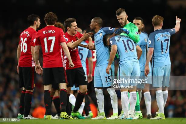 Players from both sides clash following an incident between Sergio Aguero of Manchester City and Gabriel Jesus of Manchester City during the Premier...