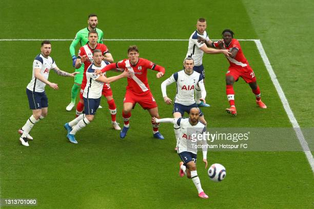 Players from both side's compete for a corner ball during the Premier League match between Tottenham Hotspur and Southampton at Tottenham Hotspur...