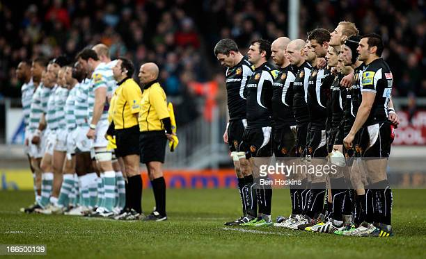 Players from both sides honour a minute's silence in memory of former Prime Minister Margaret Thatcher prior to the Aviva Premiership match between...