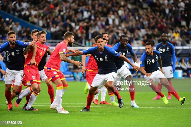 Players from both sides jostle for position during the UEFA European Championship 2020 qualifying match between France and Andorra at Stade de France...