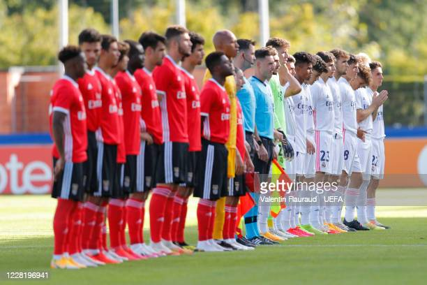 Players from both sides line up ahead of the UEFA Youth League Final 2019/20 between SL Benfica and Real Madrid CF at Colovray Sports Center on...