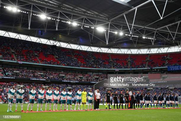 Players from both side's line up prior to The FA Community Shield Final between Manchester City and Leicester City at Wembley Stadium on August 07,...