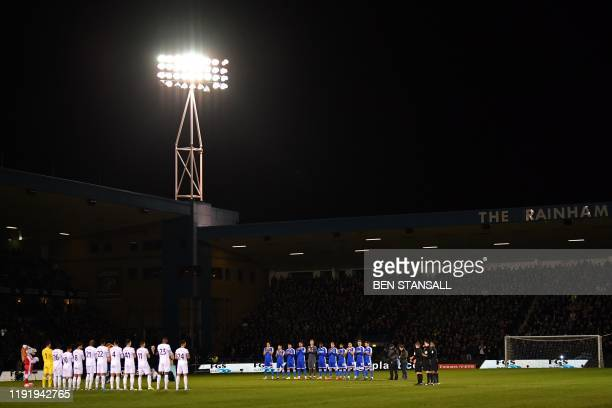 Players from both sides observe a minute's applause for the celebrity chef Gary Rhodes a Gillingham fan ahead of the English FA Cup third round...