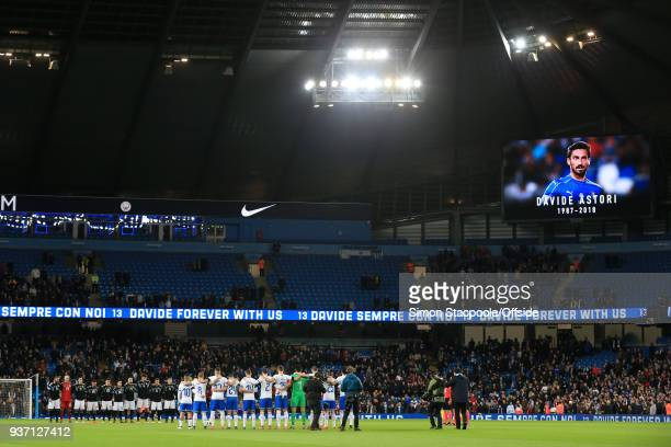 Players from both sides observe a minute's silence following the tragic death of Fiorentina captain Davide Astori ahead of the international friendly...
