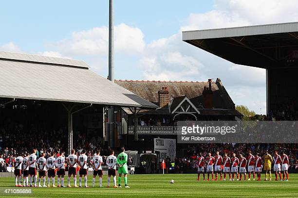 Players from both sides observe a minutes silence for the victims of the Bradford disaster 30 years ago before the Sky Bet Championship match between...