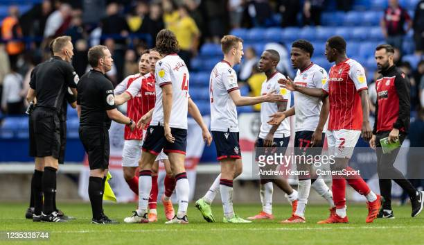 Players from both sides shake hands at the end of the match during the Sky Bet League One match between Bolton Wanderers and Rotherham United at...
