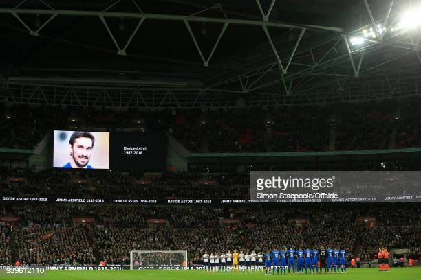 Players from both sides take a moment to applaud the late Davide Astori before the international friendly match between England and Italy at Wembley...
