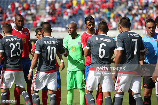 Players from both teams congratulate each other during the 2016 Copa America Centenario Group A match between Costa Rica and Paraguay at Camping...