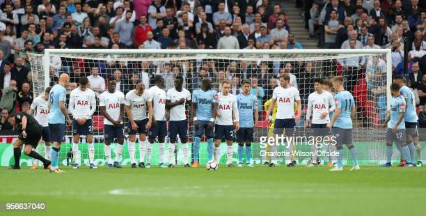 Players from both teams form an oddly long wall ahead of a free kick during the Premier League match between Tottenham Hotspur and Newcastle United...