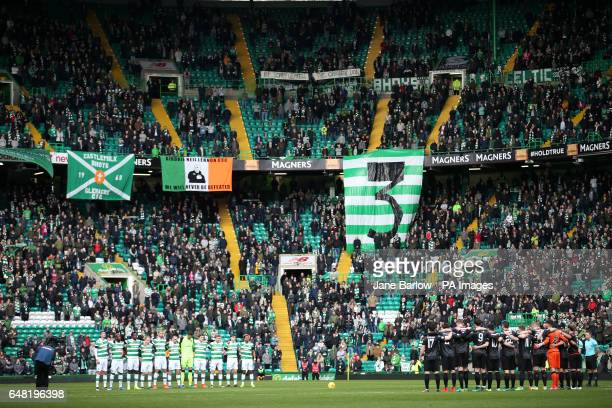 Players from both teams hold a minutes silence in memory of Tommy Gemmell during the Ladbrokes Scottish Premiership match at Celtic Park Glasgow