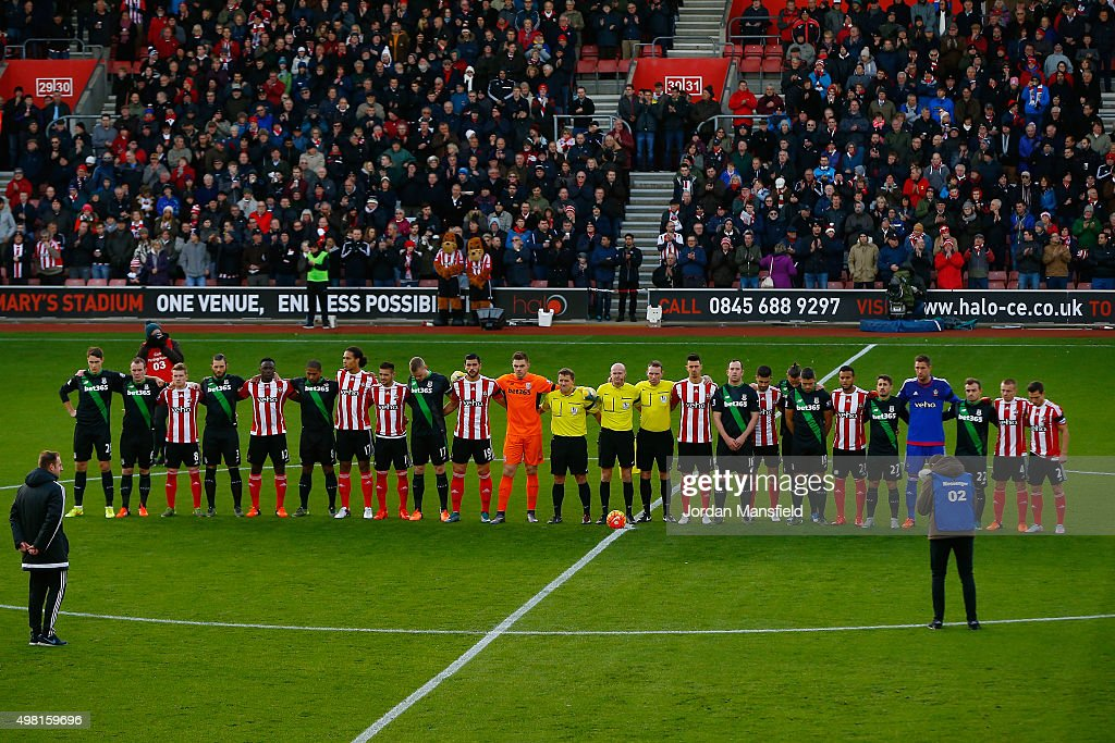 Players from both teams line up for the French national anthem to remember the victims of the terror attacks in Paris last week prior to the Barclays Premier League match between Southampton and Stoke City at St Mary's Stadium on November 21, 2015 in Southampton, England.