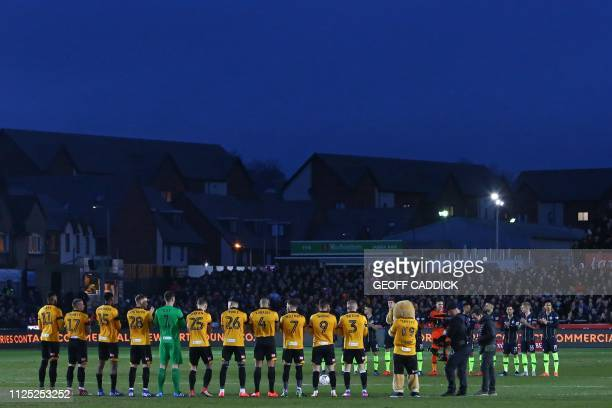 Players from both teams observe a minute of applause to honour England's former goalkeeper Gordon Banks who died earlier in the week ahead of the...