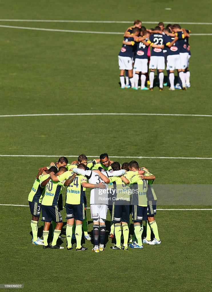 Players from both teams prepare for the round 16 A-League match between the Melbourne Victory and the Central Coast Mariners at Aurora Stadium on January 12, 2013 in Launceston, Australia.