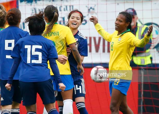Players from both teams react after a goal by Yui Hasegawa against Brazil during the second half during the 2019 SheBelieves Cup match between Brazil...