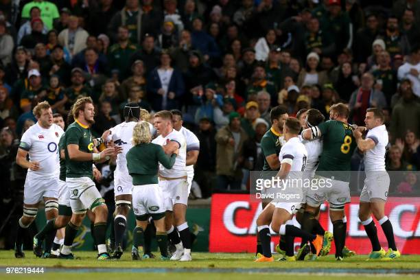 Players from both teams square up as tempers spill over during the second test match between South Africa and England on June 16 2018 in Bloemfontein...